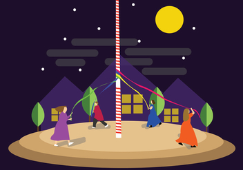Playing Maypole at Night - Free vector #424535
