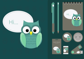 Corporate Identity Template With Owl Illustration - vector gratuit #424545