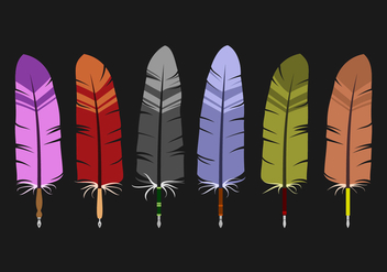 Feather Pens for Inkwell Vectors - бесплатный vector #424585