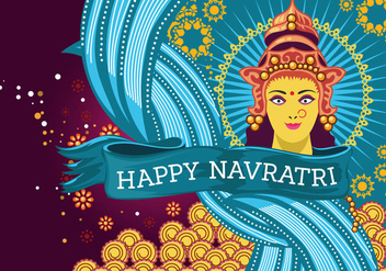 Beautiful Greeting Card with Durga for Navratri Vector - vector #424595 gratis