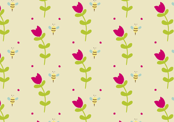Background Daun with Flowers & Bees - Kostenloses vector #424605