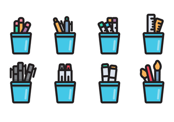 Pen Holder Linear Vector Icon - vector #424645 gratis