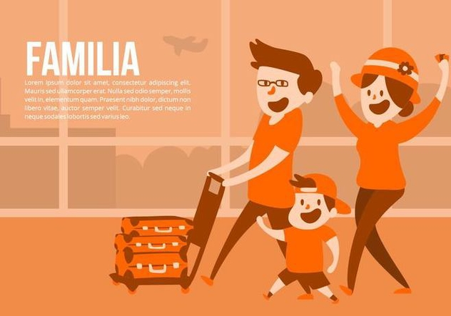 Family at the Airport Vector Background - Kostenloses vector #424675