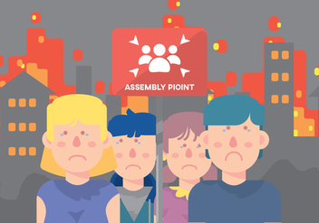Sad Children On Assembly Point - vector gratuit #424725