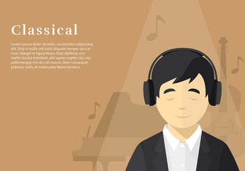 Head Phone Listening Classical Free Vector - Kostenloses vector #424765