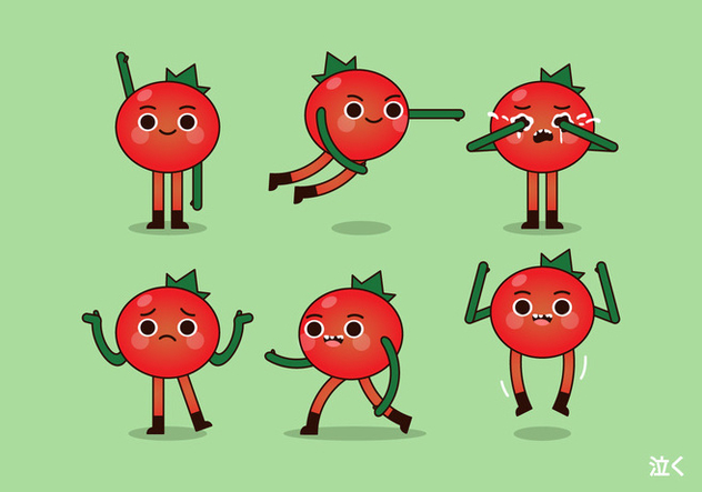 Vector Tomato and Poses - бесплатный vector #424915