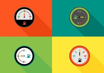 Free Colorful Fuel Gauges Vector - Kostenloses vector #425135