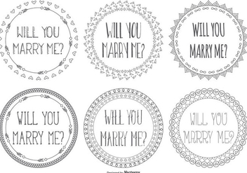 Cute Marry Me Hand Drawn Lables - vector #425395 gratis