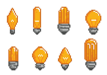 Ampoule Light Bulb Pixel Icons - vector #425455 gratis
