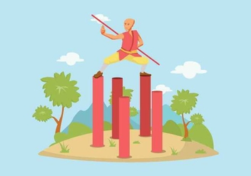 Free Man Practicing Wushu Illustration - Free vector #425465