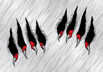 Red Claw Scratch Marks Vector - Free vector #425695