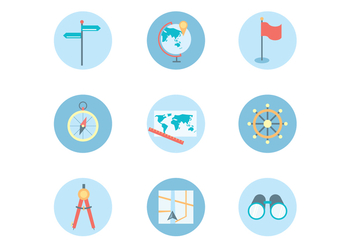 Flat Icons of Navigation Theme - vector gratuit #425765
