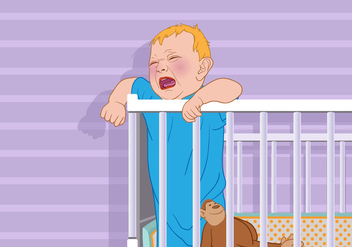 Crying Baby in a Crib Vector - vector gratuit #425795