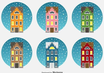 Christmas Netherlands Houses Vector Icons - vector #425925 gratis