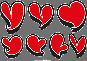 Vector Set Of Red Heart Stickers - Free vector #425975