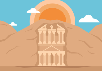 Petra Landmark Illustration - vector #426195 gratis