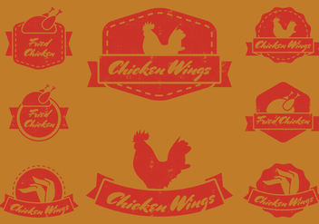 Vintage Chicken Wing Badge - vector #426205 gratis