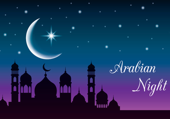 Mystic Arabian Night Background - vector #426215 gratis