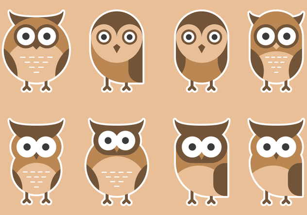 Colorful Cute Owls - Free vector #426305