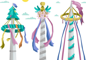 Colorful Maypole Europan Folk Festival Vector - бесплатный vector #426375
