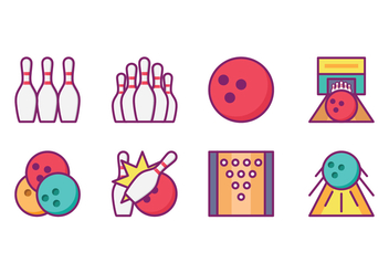 Bright Bowling Icon Pack - vector #426445 gratis