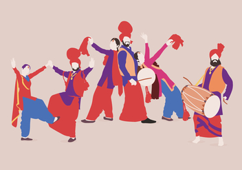 Bright Bhangra Colorful Dancer Vectors - Free vector #426455