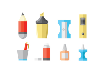 Flat Stationery and Office Supply Icons - vector gratuit #426485