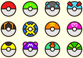 Set Of Poke Ball Pokemon - vector gratuit #426555