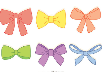 Hand Drawn Colorful Hair Ribbon Vectors - Free vector #426585