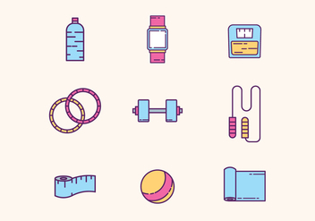 Gym & Fitness Equipment - vector gratuit #426625
