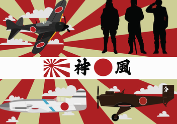 World War II Kamikaze Vector Pack - Kostenloses vector #426645