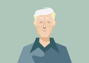 Headshot of Smiling Old Man with Blue Shirt Vector - Free vector #426725