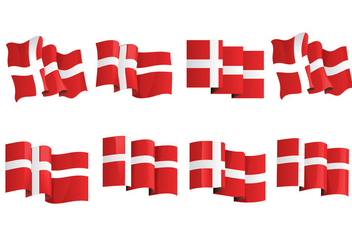Set Flag of Denmark or Danish Flag - vector gratuit #426825