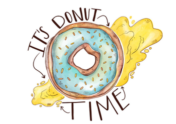 Colorful Cute Donut With Lettering - Free vector #426875