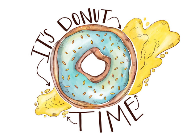 Colorful Cute Donut With Lettering - бесплатный vector #426875