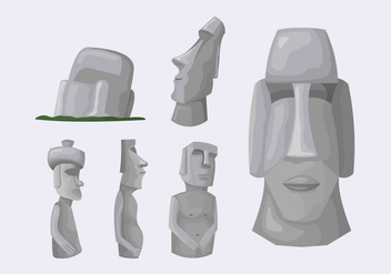 Easter Island Stone Statue Illustration Vector - Free vector #427045