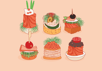 Canapes Delicious Vector - vector #427215 gratis
