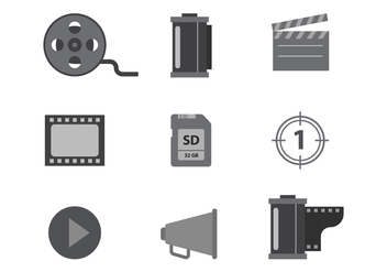 Free Grayscale Cinema and Film Vector Icons - Free vector #427255