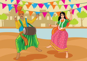 Vector Couple Performing Bhangra Folk Dance of India - Free vector #427275