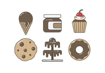 Free Delicious Chocolate Cake and Sweet Vectors - vector gratuit #427295