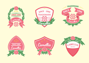 Camellia Flowers Pink Label - vector gratuit #427325