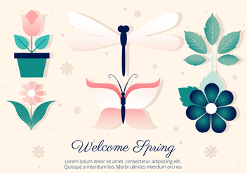 Free Flower and Insects Vector Set - Kostenloses vector #427365