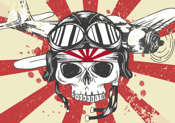 World War II Kamikaze Skull Vector - Free vector #427375