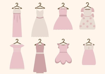 Flat Woman's Dress Vectors - Free vector #427435