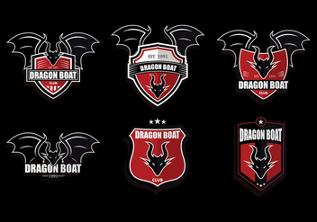 Red Dark Dragon Boat Logo Set Vector - Free vector #427465