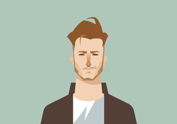 Smiling Young Man With Beard's Headshot Vector - vector #427495 gratis