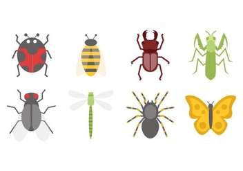 Free Insect Icons in Flat Design Vector - vector gratuit #427615