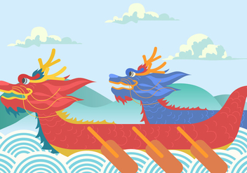 Dragon Boat Festival Background Vector - Free vector #427695