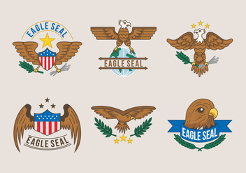 Eagle Seal Logo Illustration Vector - vector gratuit #427805
