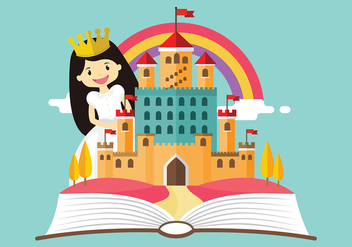 Princesa Story Cartoon Free Vector - vector gratuit #427975